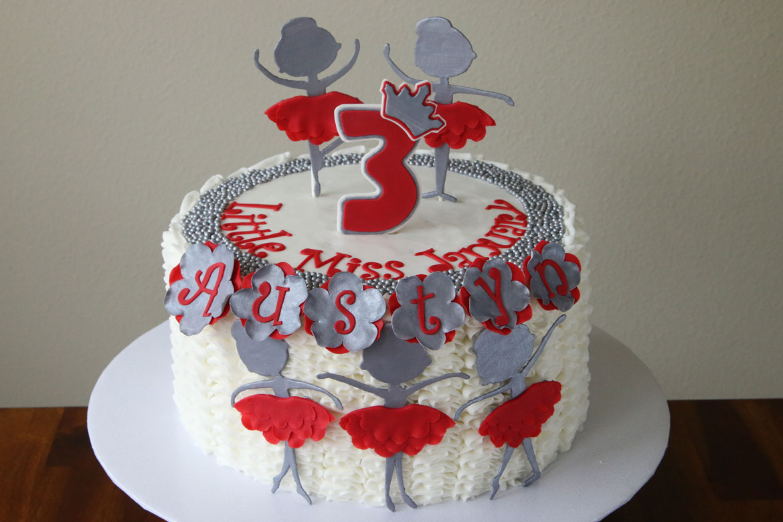 A Red Silver White Ballerina Birthday Cake Rebecca Cakes Bakes